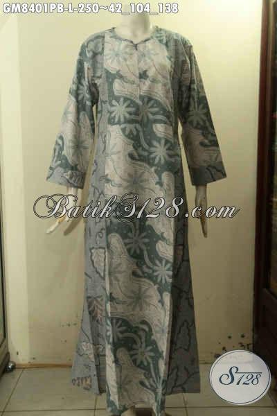 Gamis Batik Variasi 2 Warna Busana Batik Wanita Berhijab Dengan