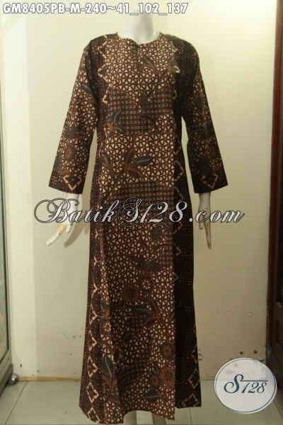 Produk Gamis Batik Solo Elegan Untuk Wanita Terlihat Cantik Anggun Dan Menawan, Batik Abaya Variasi 2 Warna Bahan Adem Proses Printing Pakai Resleting Depan Harga 250 Ribu Saja, Size M