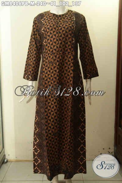 Model Baju Batik Gamis Kombinasi, Busana Batik Elegan Motif Klasik Variasi Dua Warna Di Lengkapi Resleting Depan, Pas Banget Untuk Acara Resmi Tampil Gaya [GM8406PB-M]