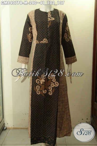 Produk Baju Gamis Solo Nan Elegan Bahan Batik Motif Klasik Priting Cabut Variasi Dua Warna, Pakaian Batik Mewah Resleting Depan Harga Terjangkau [GM8407PB-M]