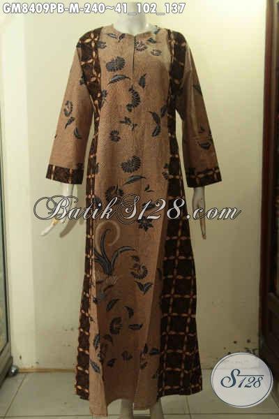 Baju Batik Gamis Resleting Depan, Pakaian Batik Jawa Tengah Halus Terbaru Desain Mewah Dengan Variasi 2 Warna Untuk Penampilan Lebih Mempesona Dan Berkelas Hanya 240K [GM8409PB-M]