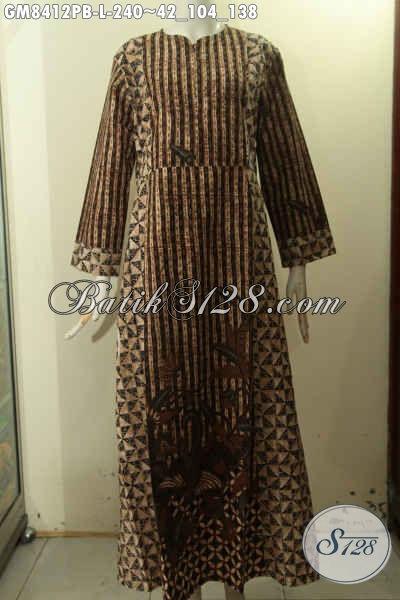 Model Baju Batik Gamis Wanita Modern, Hadir Dengan Resleting Depan Berpadu Motif Elegan Dengan Variasi Dua Warna Berkelas Dan Pakai Resleting Depan, Tampil Cantik Dan Anggun [GM8412PB-L]