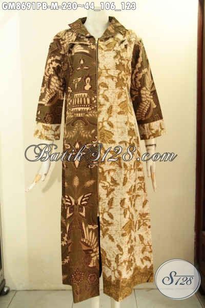 Batik Gamis Solo Halus Nan Modis, Pakaian Batik Keren Istimewa Bahan Adem Proses Printing Motif Bagus Model Resleting Depan, Penampilan Anggun Dan Menawan, Cocok Untuk Wanita Berhijab