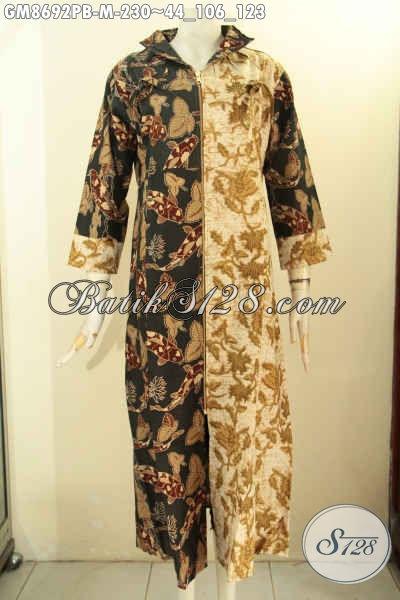 Gamis Batik Dual Motif, Busana Batik Wanita Berhijab Proses Printing Cabut Di Lengkapi Resleting Depan, Cocok Untuk Acara Resmi