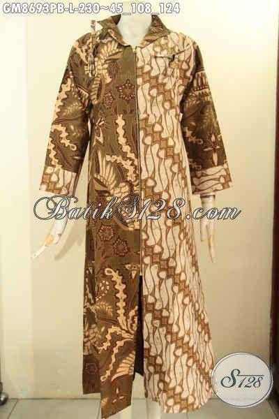 Batik Gamis Buatan Solo Asli, Produk Pakaian Batik Wanita Muslimah Tampil Syar'i Model Resleting Depan Dengan Motif Kombinasi Proses Printing Cabut, Tampil Cantik Anggun [GM8693PB-L]