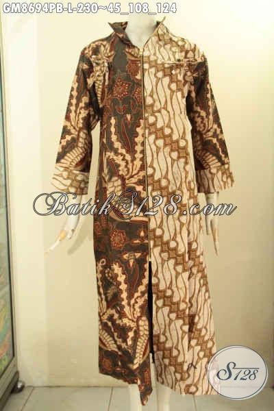 Produk Baju Batik Solo Spesial Untuk Yang Berhijab, Gamis Batik Resleting Depan Motif Kombinasi, Busana Batik Solo Jawa Tengah Nan Berkelas Yang Menunjang Penampilan Lebih Sempurna