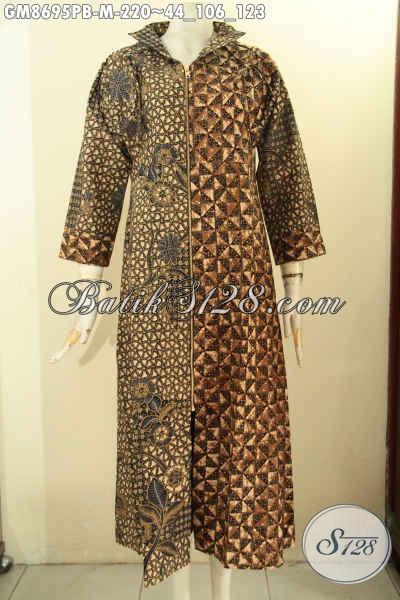 Gamis Batik Bagus Harga Terjangkau, Abaya Batik Model Terkini Dengan Resleting Depan Motif Belakang Sama Dengan Motif Depan Bagian Kanan, Tampil Elegan Dan Modis