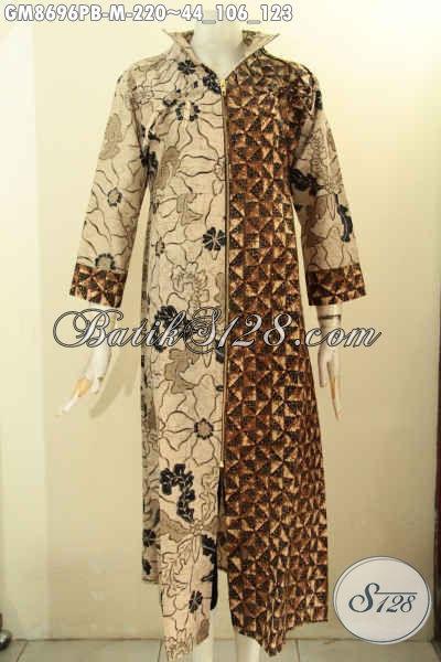 Koleksi Terbaru Gamis Batik Wanita Muda Model Resleting Depan, Busana Batik ELegan Dual Motif Nan Mewah, Pilihan Tepat Tampil Beda Dan Anggun [GM8696PB-M]