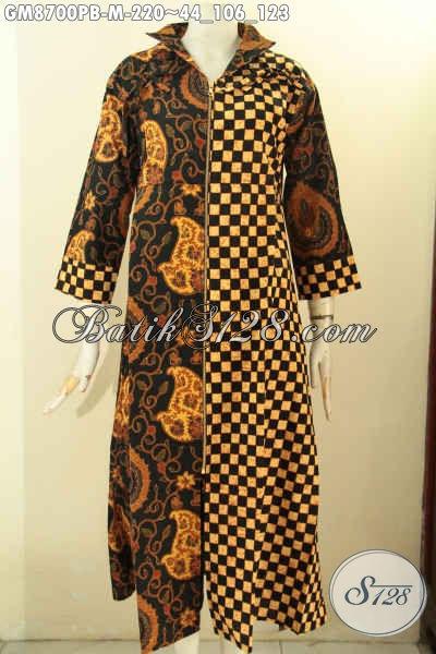 Produk Baju Batik Solo Jawa Tengah Untuk Wanita Berhijab, Gamis Batik ELegan Dan Mewah Dengan Harga Terjangkau, Model Resleting Depan Motif Berkelas Proses Printing Hanya 200 Ribuan
