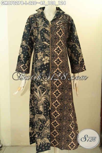 Gamis Batik Modis ELegan Mewah Motif Bagus Model Resleting Depan, Busana Batik Solo Terkini Bahan Adem Proses Printing, Cocok Buat Acara Resmi