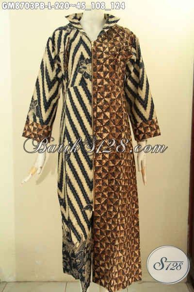 Pakaian Batik Gamis Solo Nan Istimewa, Baju Batik Wanita Untuk Tampil Berkelas Dan Syar'i Motif Kombinasi Model Resleting Depan Hanya 220K