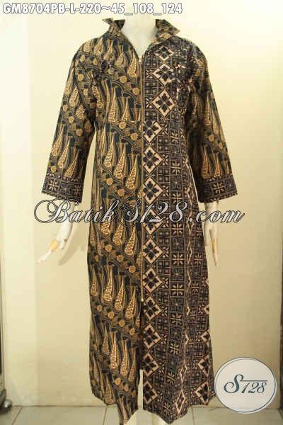 Gamis Batik Dual Motif Elegan Nan Istimewa, Pakaian Batik Solo Syar'i Untuk Wanita Muslima Model Resleting Depan, Tampil Cantik Anggun Mempesona [GM8704PB-L]