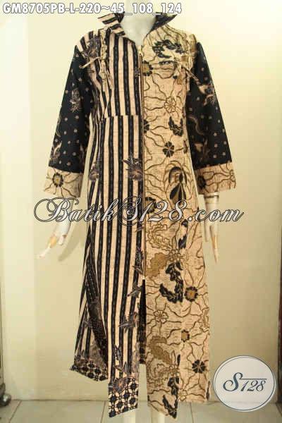 Baju Batik Gamis Ukuran L, Busana Batik Muslim Desain Modern Dengan Resleting Depan Berpadu Motif Kombinasi Yang Membuat Penampilan Cantik Menawan
