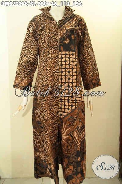 Toko Pakaian Batik Solo Online, Jual Gamis Batik Wanita Model Terbaru Dengan Resleting Depan Motif ELegan Klasik Proses Printing Bahan Adem Nyaman Di Pakai