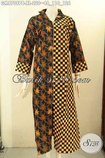 Sedia Gamis Batik Wanita Model Resleting Depan, Busana Batik Elegan Motif Kombinasi Proses Printing Cabut, Bisa Untuk Acara Resmi Dan Santai