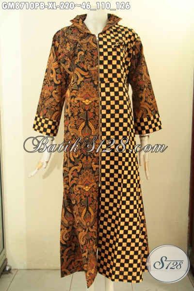 Produk Pakaian Batik Gamis Solo Jawa Tengah, Hadir Dengan Desai Berkelas Kwalitas Istimewa Pakai Resleting Depan Dan Motif Kombinasi Hanya 200 Ribuan