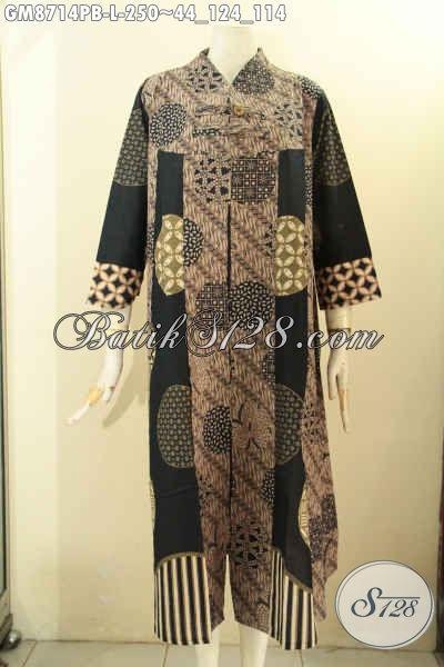 Produk Busana Batik Solo Spesial Buat Wanita Berhijab, Gamis Batik Elegan Modis Bahan Adem Proses Printing Di Lengkapi Kancing Depan, Cocok Buat Ngantor Dan Acara Resmi