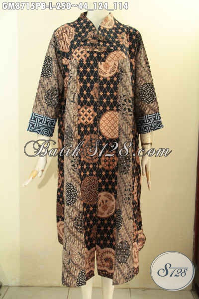 Batik Gamis Motif Bagus, Busana Batik Solo Jawa Tengah Nan Istimewa Bahan Adem Desain Bagus Tren Masa Kini Di Lengkapi Kancing Depan, Tampil Modis Dan Nyaman