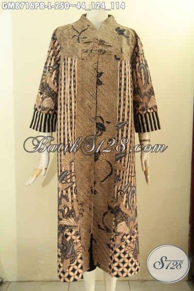 Gamis Batik Modern Desain Mewah Motif Bagus Dan Berkelas Pakai Kancing Depan, Cocok Untuk Kondangan Kerja Dan Acara Resmi