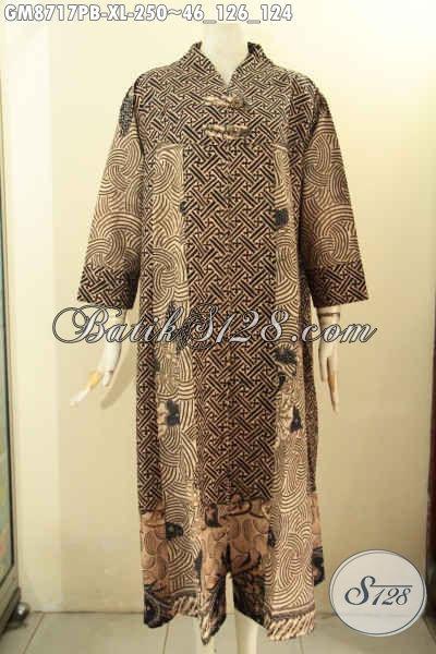 Baju Batik Gamis Size XL Motif Elegan Model Kancing Depan, Busana Batik Syar'i Untuk Wanita Dewasa Tampil Elegan Dan Berkelas Hanya 250K