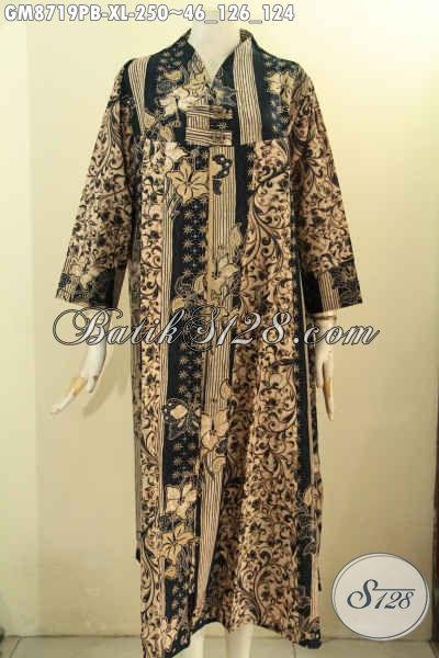 Baju Gamis Batik Kancing Depan Untuk Wanita Dewasa, Busana Batik Wanita Berhijab Tampil Gaya Dan Mempesona