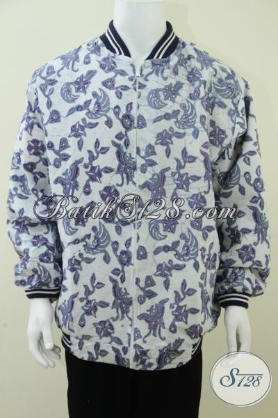 Jual Jaket Batik Online Warna Putih Ujung Lengan Berkerut, Elegan Dan Eksklusif [J009BT-XXL]