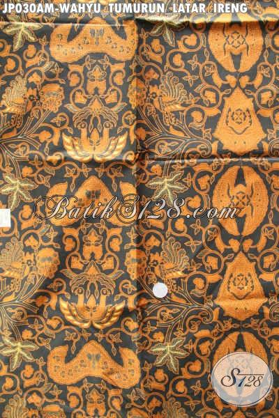 Batik Klasik Lawasan Motif Wahyu Tumurun Latar Ireng, Batik Istimewa Harga Murmer Proses Printing [JP030AM-240x105cm]