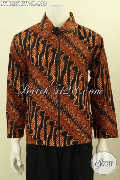 Model Jaket Batik Terbaru, Batik Jaket Istimewa Lengan Panjang Full Furing Bahan Adem Motif Klasik Kombinasi Tulis Hanya 200 Ribuan, Size M