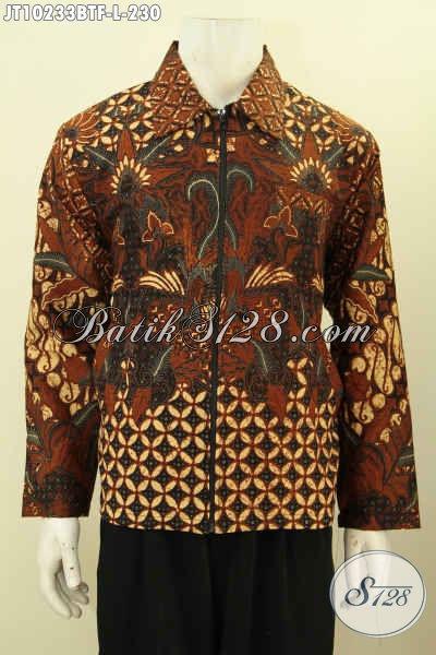 Jual Jaket Batik Elegan Berkelas Model Jas, Busana Batik Jaket Istimewa Pake Furing Bahan Adem Dan Ringan Harga 230 Ribu Saja [JT10233BTF-L]