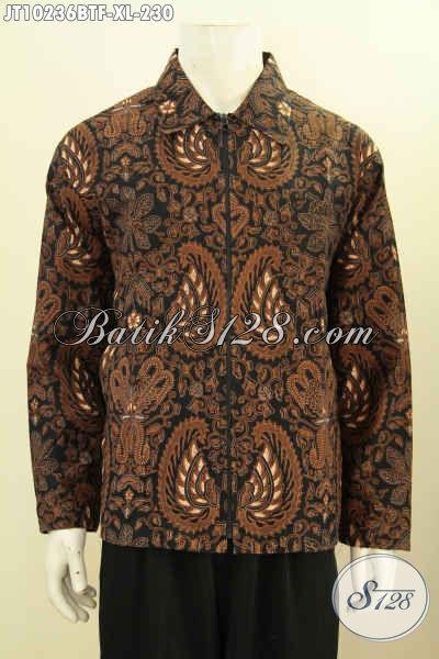 Jaket Batik Solo Istimewa, Produk Batik Jaket Modern Berkelas Bahan Adem Proses Kombinasi Tulis Dengan Motif Klasik, Tampil Makin Elegan, Size XL