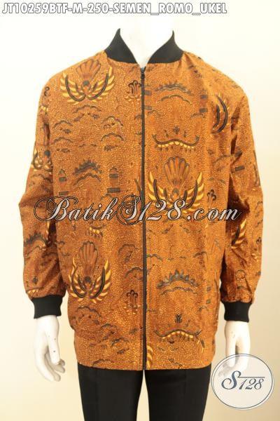 Jaket Bomber Lengan Panjang Full Furing, Model Busana Jaket Batik Pria Muda Untuk Tampil Gaya Khas Jokowi, Size M