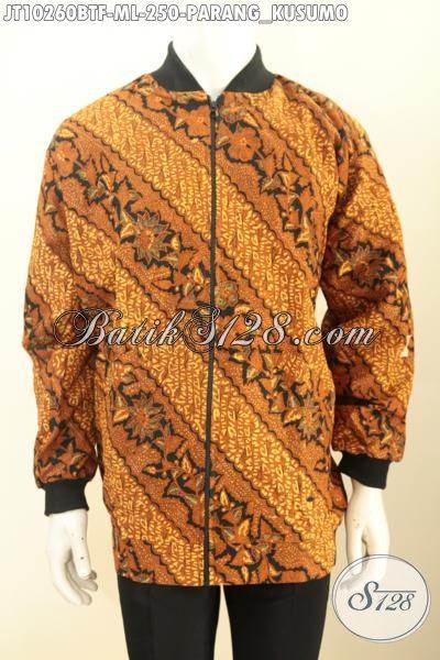 Jaket Batik Model Bomber, Bahan Halus Dan Adem Motif Klasik Parang Kusumo Kwalitas Istimewa Dengan Harga Terjangkau Proses Kombinasi Tulis [JT10260BTF-M , L]