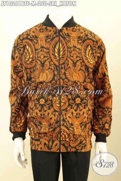 Produk Jaket Batik Bomber Buatan Solo, Hadir Dengan Bahan Halus Kwalitas Istimewa Berpadu Motif Klasik Srikaton Nan Elegan Harga 200 Ribuan [JT10261BTF-M]