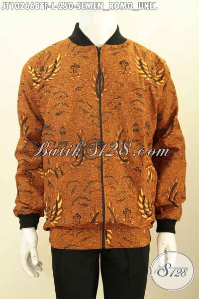 Model Jaket Bomber Khas Jokowi, Hadir Dengan Bahan Batik Klasik Motif Semen Romo Ukel Bahan Halus Nyaman Di Pakai Harga 250K, Size L
