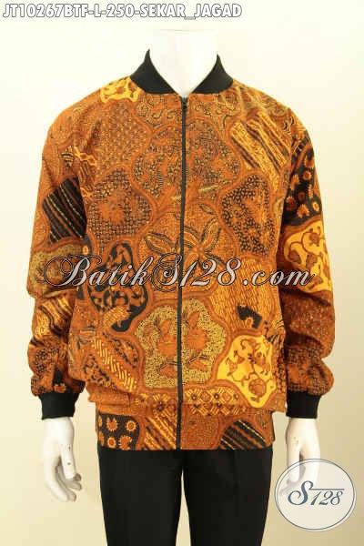 Model Jaket Batik Bomber Size L, Desain Jaket Yang Di Populerkan Presiden Jokowi Kini Hadir Dengan Bahan Batik Klasik Kombinasi Tulis Motif Sekar Jagad Harga 250K, Size L