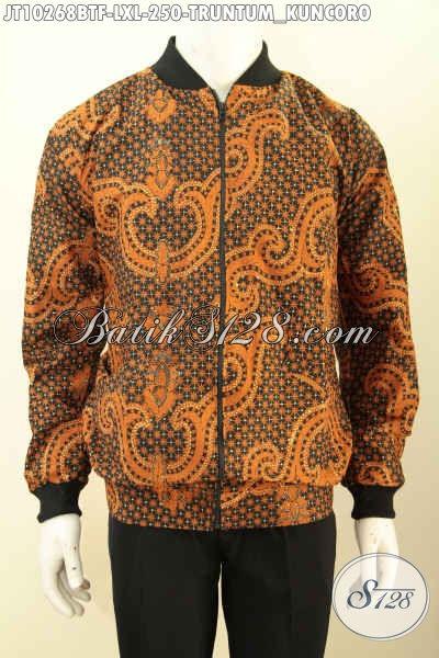 Model Jaket Bomber Batik Trend Masa Kini, Hadir Dengan Full Furing Bahan Adem Dan Ringan Nyaman Di Pakai, Jaket Batik Kombinasi Tulis Motif Truntum Kuncoro Hanya 200 Ribuan Saja [JT10268BTF-L , XL]