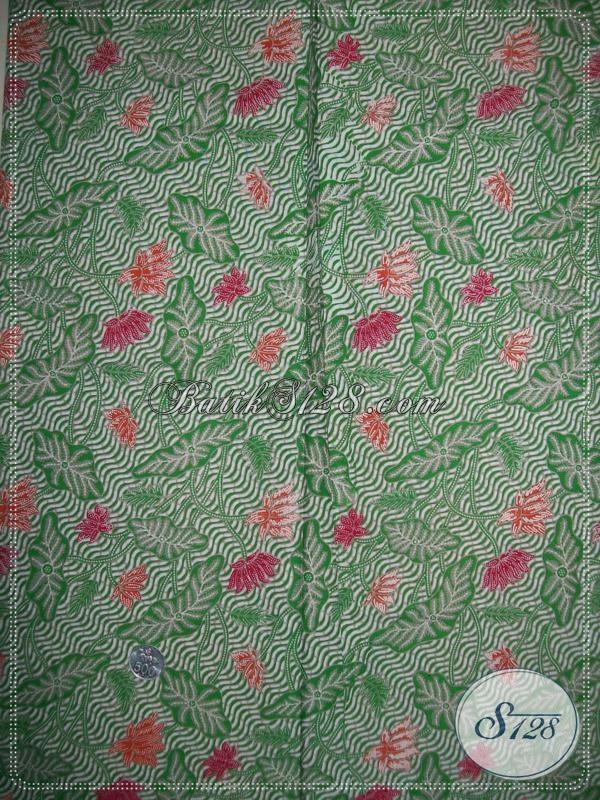 Bahan Batik Motif Daun Warna Hijau [K1015P]