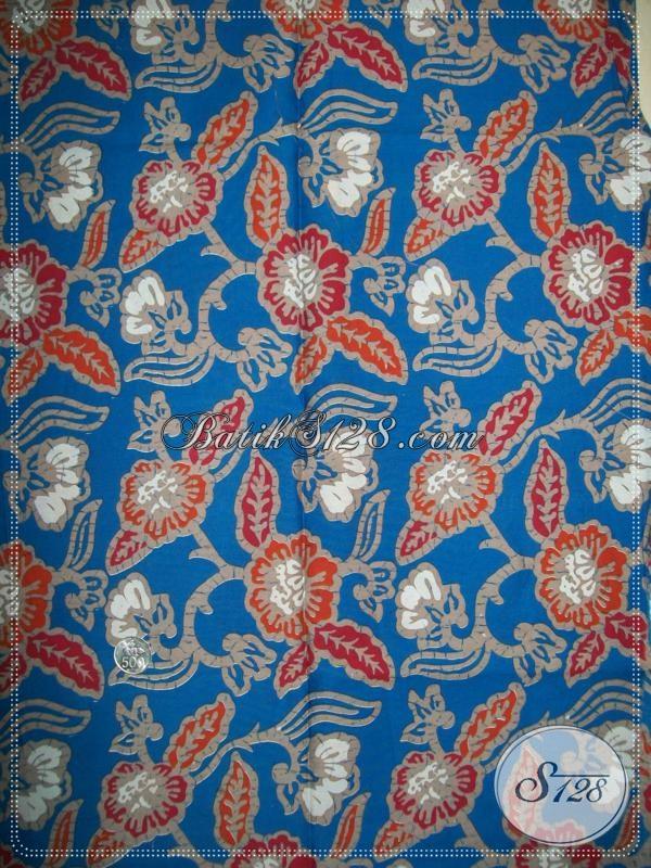 Kain Batik MOtif Bunga,Batik Warna Biru Untuk Baju Wanita Trendy [K1018P]