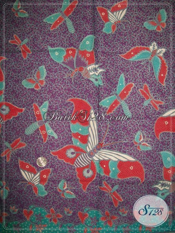 Jual Kain Batik Motif Kupu Warna Kain Ungu Yang Banyak Diminati Oleh Wanita Modern [K1029P]