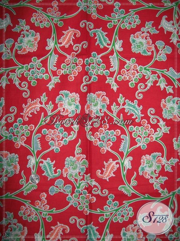 Bahan Batik Motif Floral Warna Merah,Batik Untuk Hadiah Lebaran 2014 [K1030P]