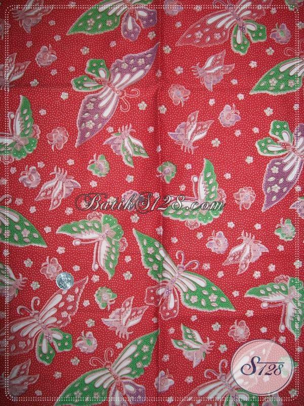 Jual Kain Batik Motif Kupu Warna Merah,Kain Batik Kupu Untuk Baju Lebaran Anak [K1031P]