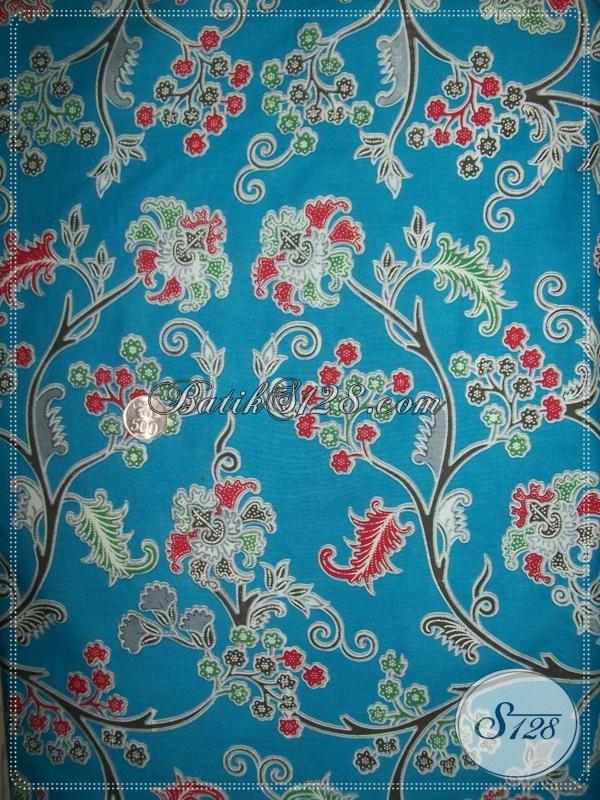 Kain Batik Motif Floral Elegan Warna Biru [K1032P]