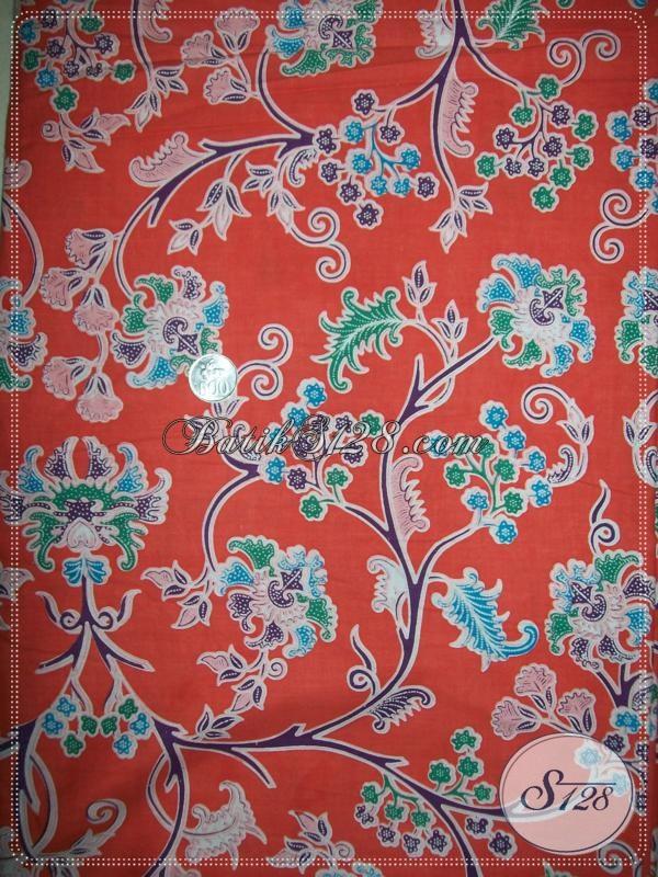 Kain BAtik Bunga Warna Orange,Warna Batik Cerah Dan Modern [K1034P]
