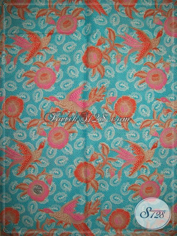 Batik Kain Bahan Busana Murah Berkwalitas, Batik Solo Warna Biru Motif Modern Cocok Untuk Baju Kerja