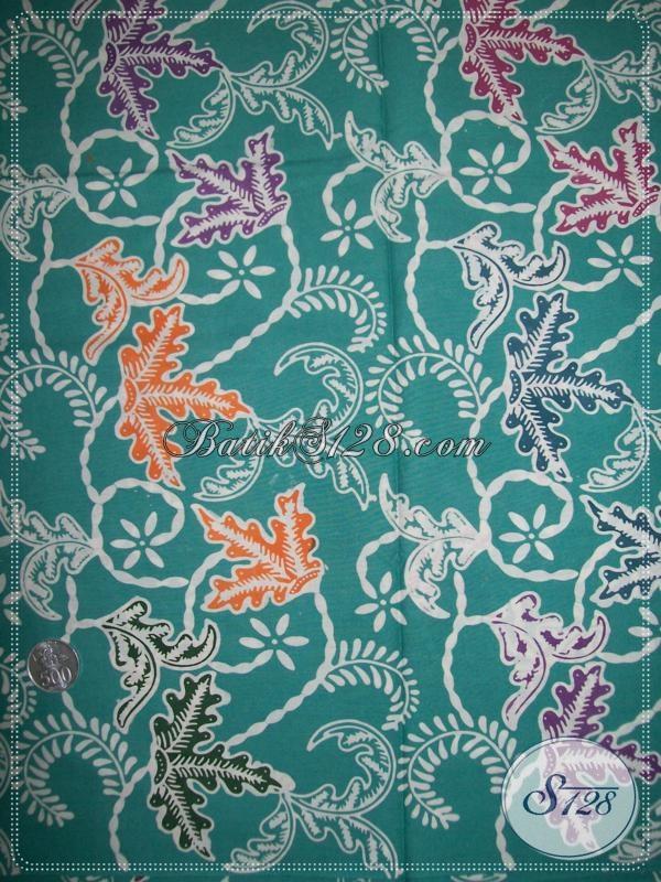 Batik Cap Motif Modern Klasik Warna Dominan Hijau, Sangat Cocok Untuk Bahan Pakaian Kerja Pria Dan Wanita Karir