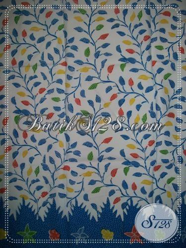 Kain Batik Murah Untuk Seragam Instansi,Motif Daun Warna Biru [K1187P]
