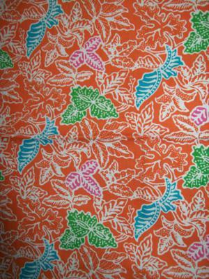 Kain Batik Warna Orange Motif Daun Dengan Colet Warna Hijau,Biru Dan Pink [K1269P]