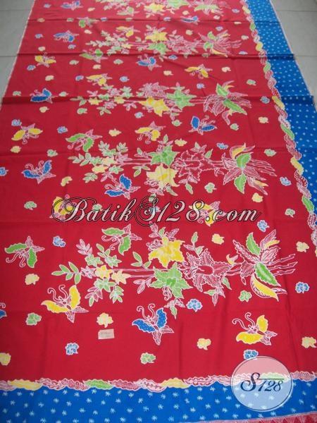 Kain Batik Premium Bahan Busana Mewah Berkelas, Kain Batik Tulis Solo Warna Merah Motif Tren Terkini