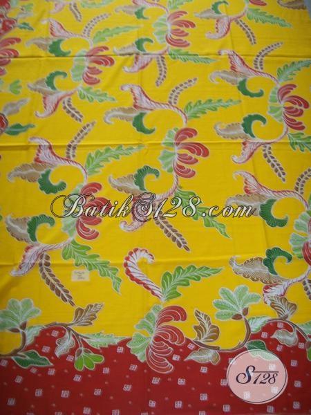 Batik Tulis Solo Warna Kuning Dijual Online Untuk Bahan Pakaian Wanita [K1296TP]