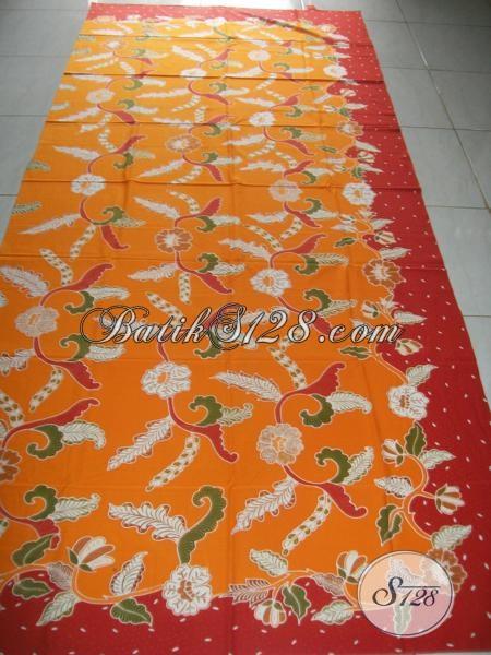 Kian Batik Bagus Berkwalitas Istimewa, Batik Tulis Solo Warna Oranye Motif Modern Bahan Baju Mewah Keren Berkelas